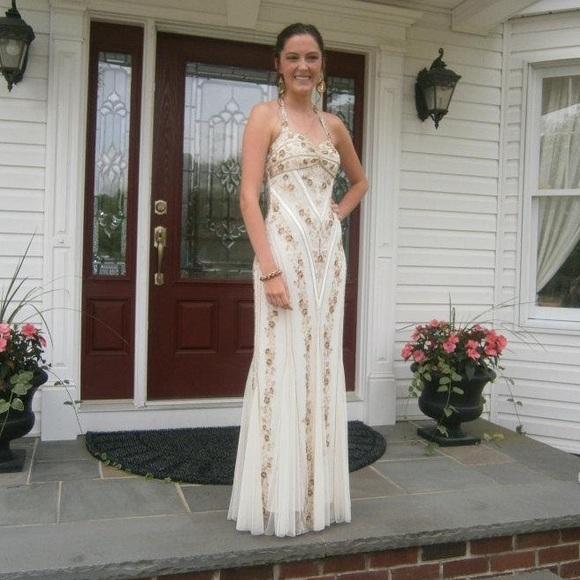 Dresses Off White Boho Beaded Prom Gown Poshmark